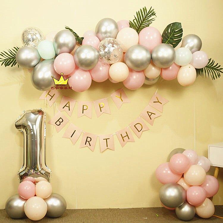 ins百天寶寶周歲生日氣球不規則氣球鏈套餐馬卡龍色派對裝飾布置   時尚學院