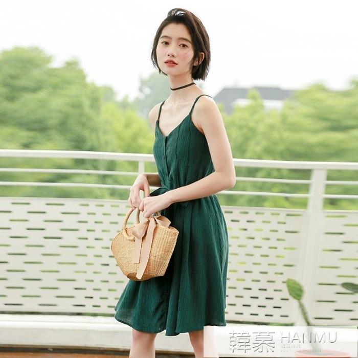輕熟風吊帶洋裝女收腰蝴蝶結2021年夏季新款小心機鎖骨綠色中裙 摩可美家