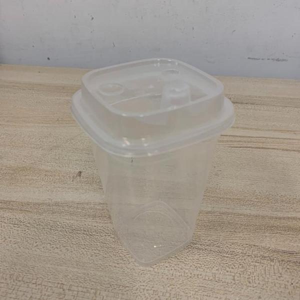 加厚一次性帶蓋透明杯塑膠杯果汁杯免洗杯外帶杯飲料杯手搖杯(13*7/777-11216)