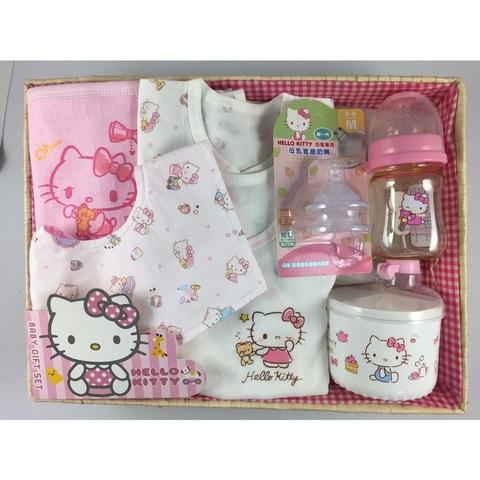 三麗鷗SANRIO  凱蒂貓童玩寶寶禮盒組-B款 (紗 布肚衣+奶瓶組)