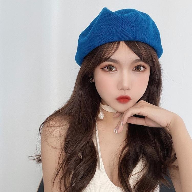 貝雷帽ins風超顯白復古油畫藍貝雷帽子女夏天薄款百搭素色日系畫家帽潮 迷你屋