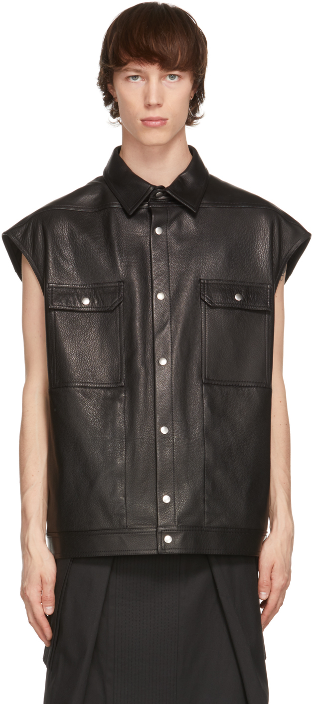 Rick Owens 黑色 Jumbo 皮革衬衫夹克