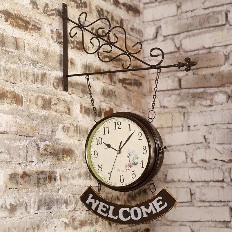 北歐創意奶茶店鐵藝掛鍾辦公室牆上牆面表掛牆裝飾創意時鍾小掛件SGBS3 愛尚優品