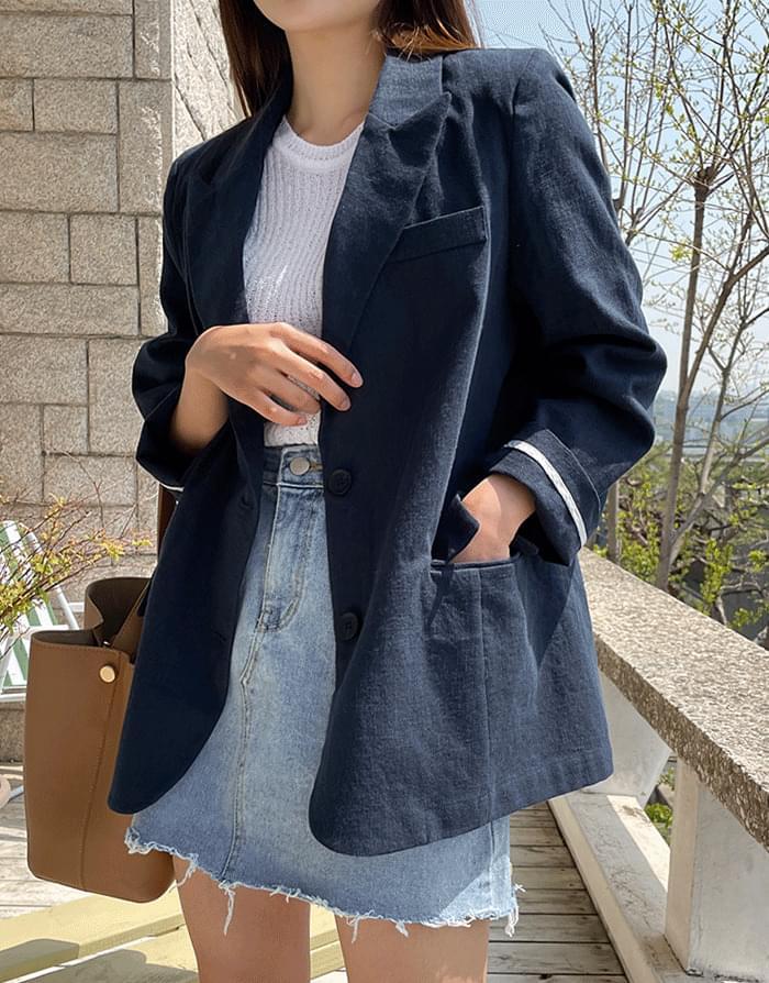 韓國空運 - Creaming linen basic jacket 夾克