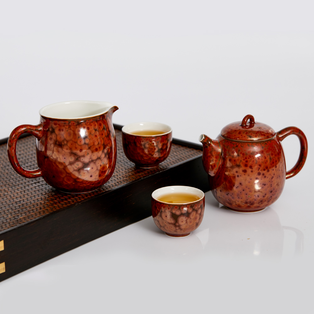 乾唐軒活瓷 | 養心茶具組 / 瓷 / 一壺+六杯+茶海 / 曜變鐵花紅
