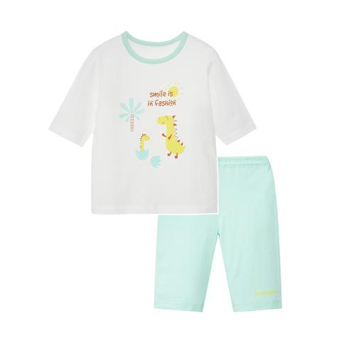【Cloudy雲柔系列】麗嬰房 家居恐龍短袖套裝(短袖+短褲組)-白色 (76cm~130cm)