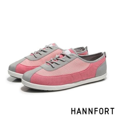 HANNFORT  CALIFORNIA細緻網花純棉帆布鞋 活力粉