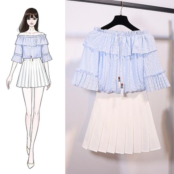 套裝裙甜美小清新洋氣公主一字領圓領上衣百褶半身裙兩件套N518-D.胖丫