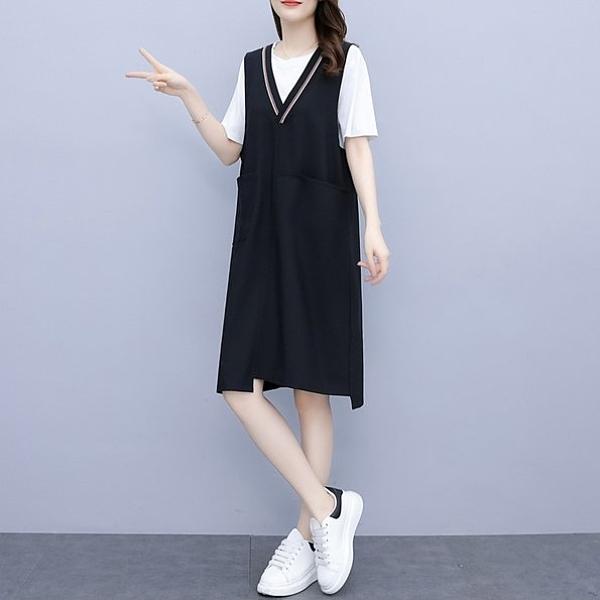 洋裝 長版衣 兩件套裙L-5XL中大尺碼棉花糖V領背心裙簡約款5F013.897胖丫