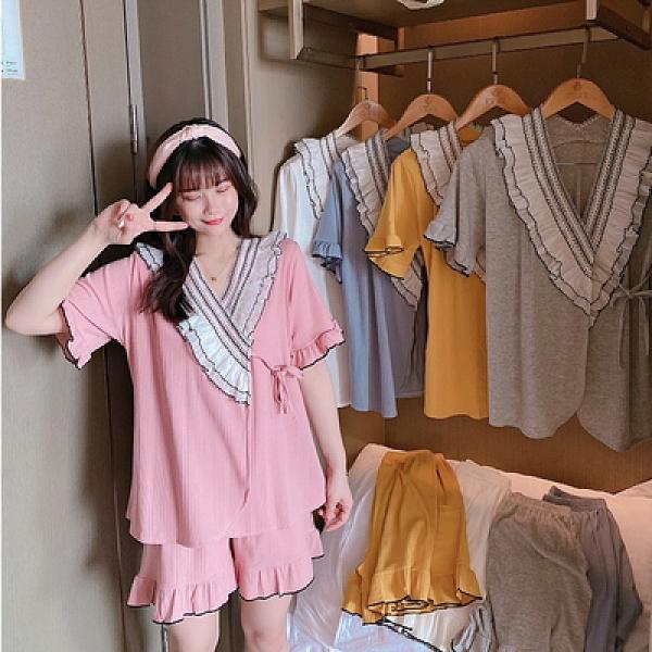 新款和服女生夏季短袖薄款性感日式睡衣坑條棉套裝1F057胖妞衣櫥