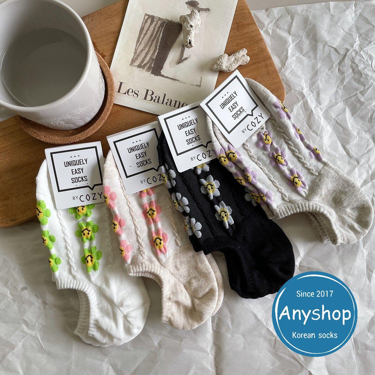 韓國襪-[Anyshop]麻花編織小花極短襪