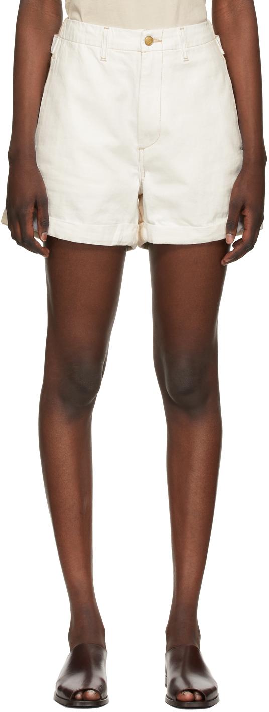 B Sides 白色 & 米色 Cinch Halfsie 牛仔短裤