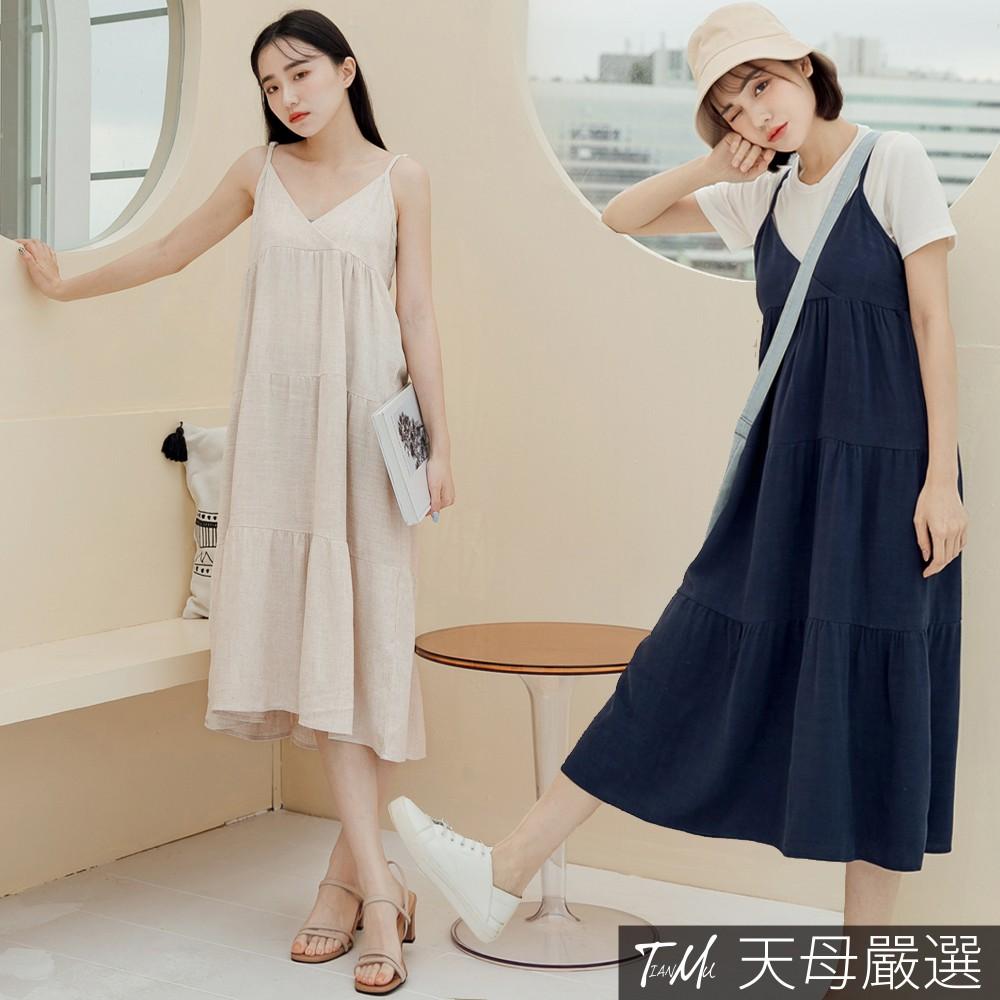 天母嚴選 清新棉麻細帶層次連身裙(共二色)