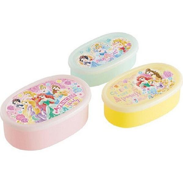 小禮堂 迪士尼 公主 日製 橢圓形微波保鮮盒組 抗菌保鮮盒 塑膠保鮮盒 Ag+ (3入 粉 玫瑰) 4973307-51869