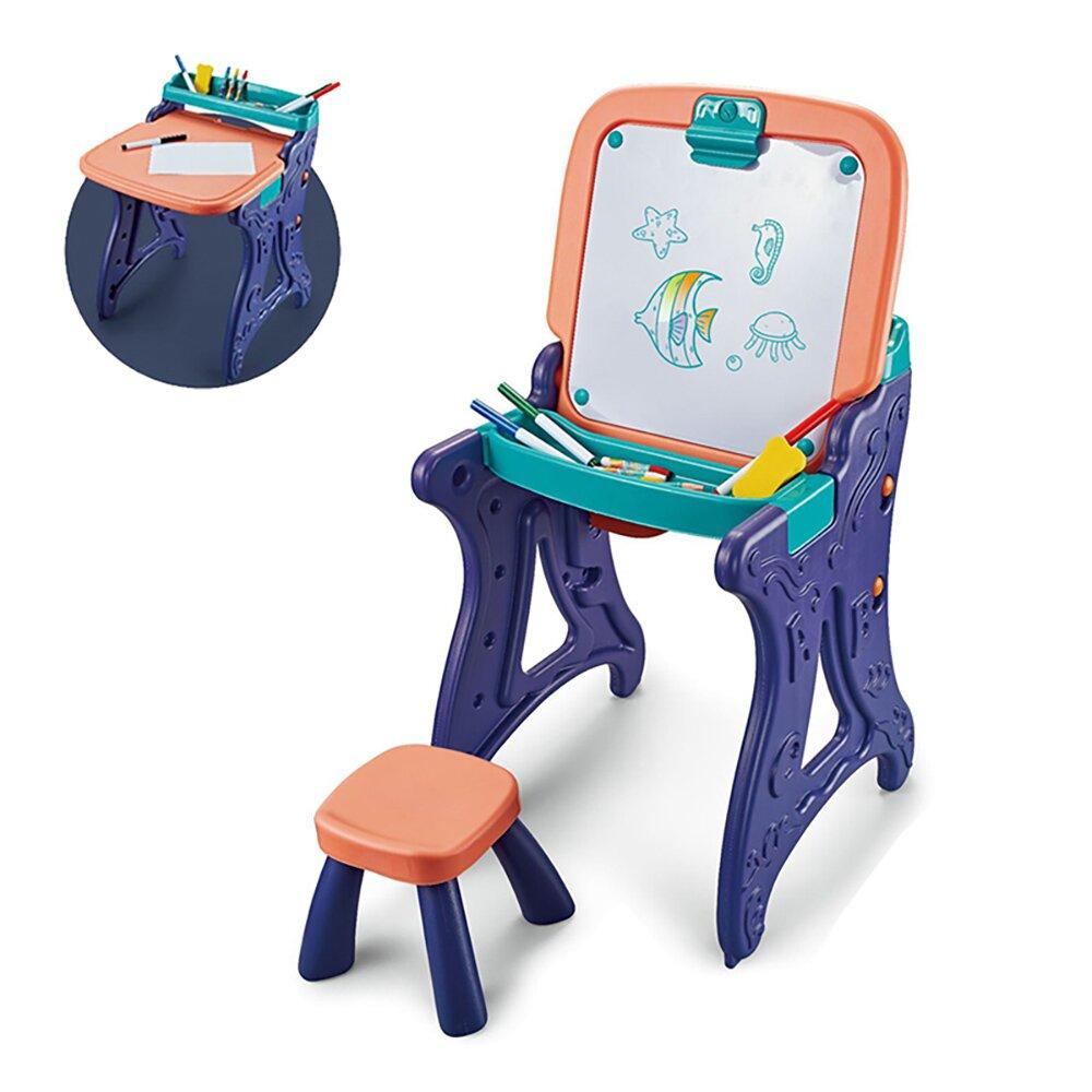 【我是乾媽】二合一學習繪畫板桌椅組-珊瑚橘