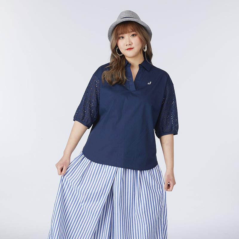 加大尺碼-02-B61941-女款造型襯衫-丈青