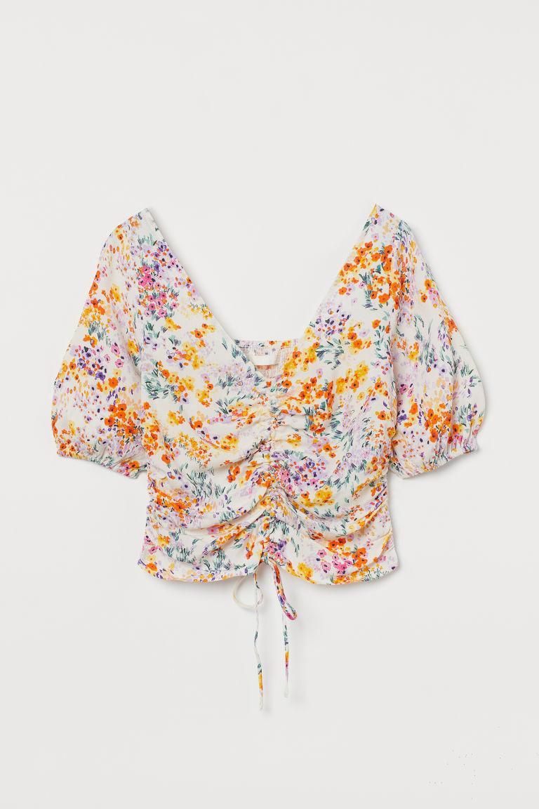 H & M - 垂墜感女衫 - 米黃色