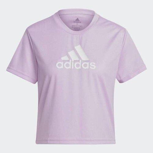 Adidas W Bl Cro T [GL3831] 女 T恤 短袖 運動 休閒 訓練 舒適 透氣 吸濕 短版 粉紫
