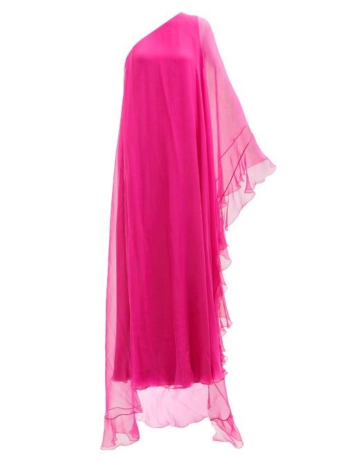 Valentino - One-shoulder Chiffon-overlay Silk Gown - Womens - Pink