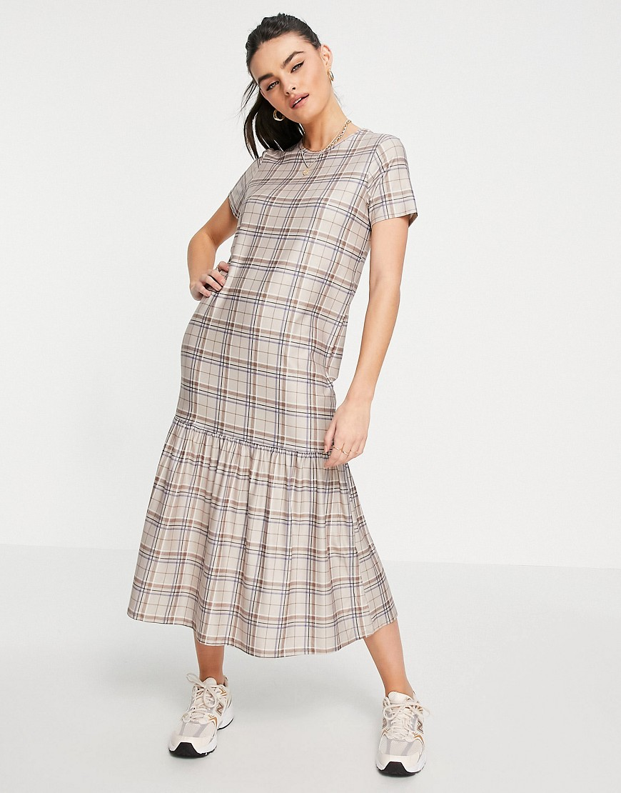 Urban Threads tiered midi smock dress in neutral check