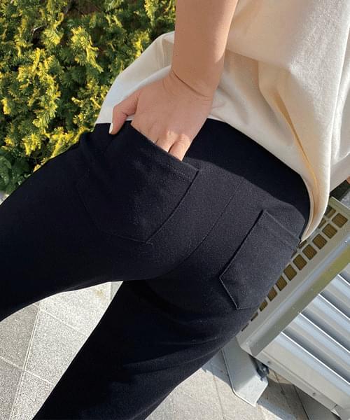 韓國空運 - Loose back pocket side split banding pants 長褲