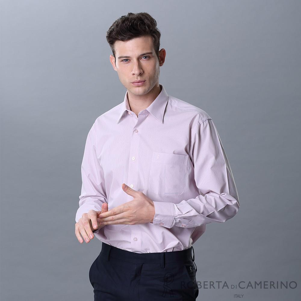 ROBERTA諾貝達 台灣製 優質嚴選 細條紋長袖襯衫 粉紅