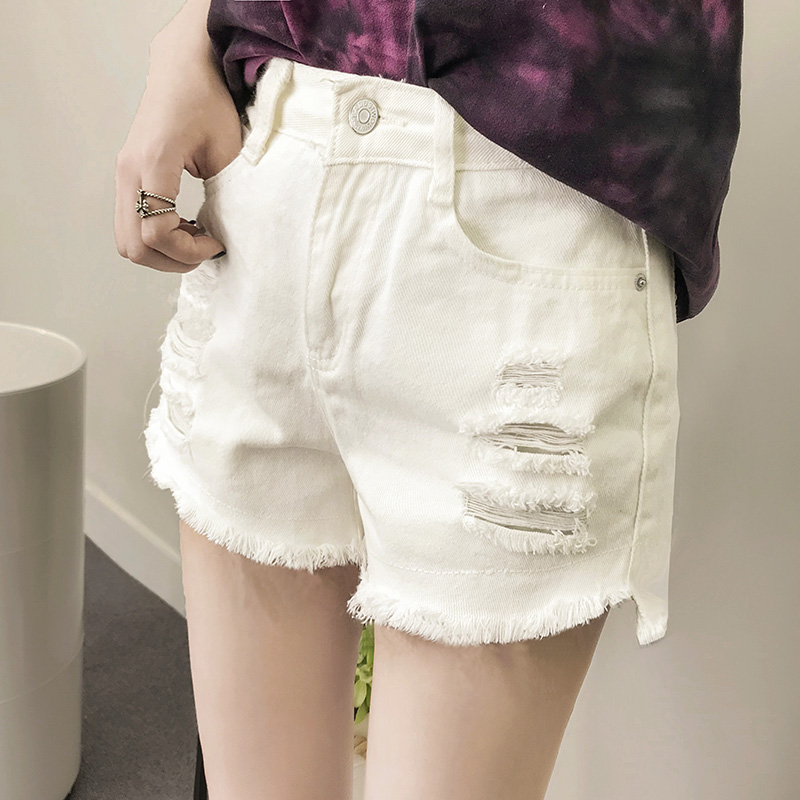高腰牛仔短褲 直筒短褲 a字熱褲 韓版個性減齡破洞短褲 毛邊短褲 學生素面顯瘦ins潮闊腿短褲
