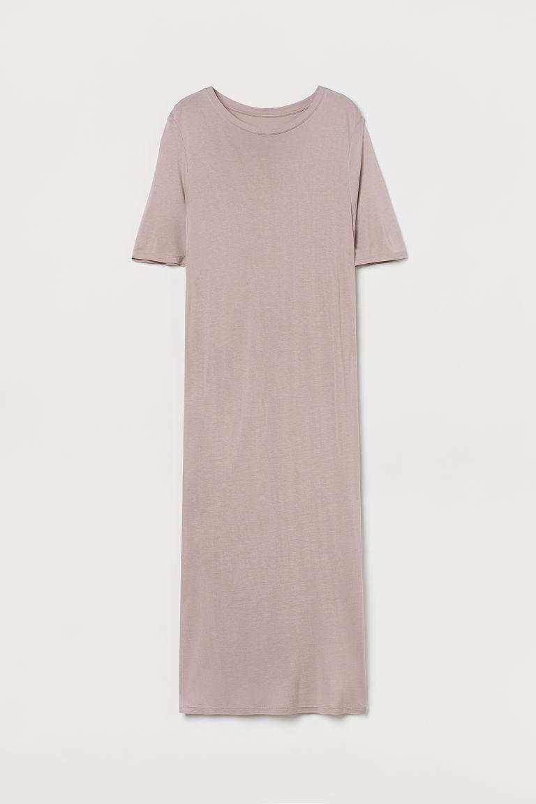 H & M - 平紋連身中長睡裙 - 褐色