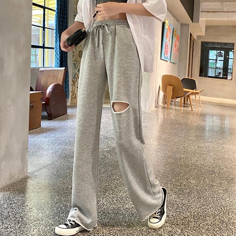 【免運】新款高腰垂感闊腿褲時尚破洞拖地長褲學生春夏裝抽繩寬松直筒寬褲休閒運動褲
