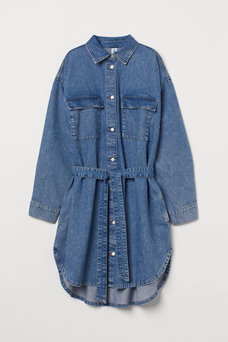 H & M - 丹寧襯衫式洋裝 - 藍色