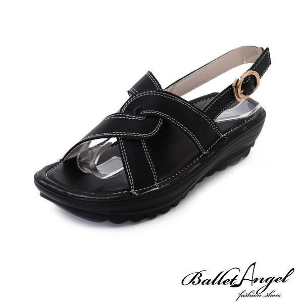 涼鞋 質感真皮美型厚底鞋(黑)*BalletAngel【18-892bk】【現】