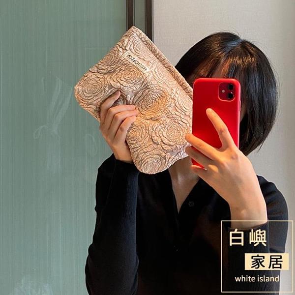 玫瑰花紋化妝包化妝品收納整理袋旅行便攜大容量女【白嶼家居】