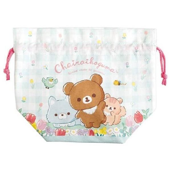 小禮堂 懶懶熊 棉質束口便當袋 保冷束口袋 保溫袋 小物袋 縮口袋 (綠 格?) 4974413-78601