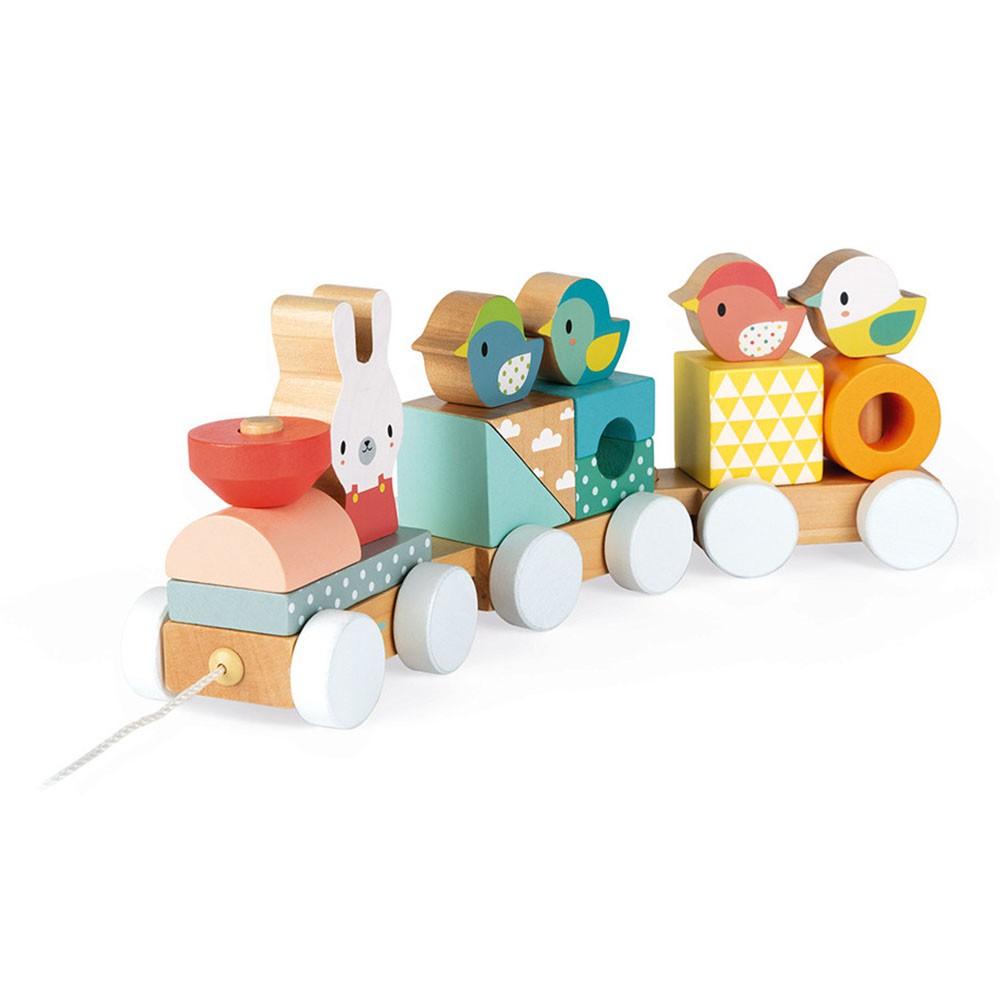 【法國Janod】寶寶異想世界-森林火車 木頭玩具 積木 成長玩具(LAVIDA官方直營)