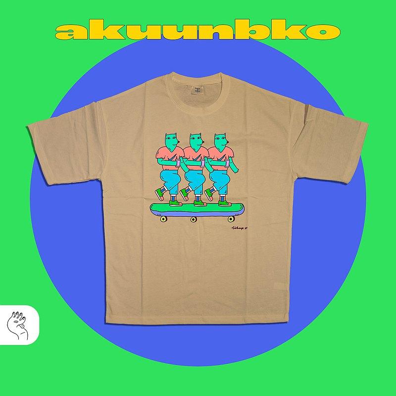 落肩五分袖T恤ーSKATE COACHー白卡其ーA君B子設計