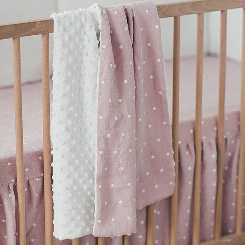 亞麻(亞麻)粉紅色嬰兒被子–有機毯子–白色和粉紅色的床罩