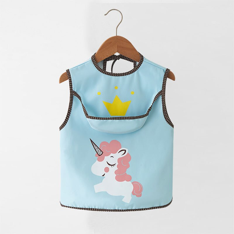 兒童畫畫衣 夏季薄款無袖寶寶罩衣兒童防水圍兜兒童吃飯衣口水巾男女反穿衣 bw1961