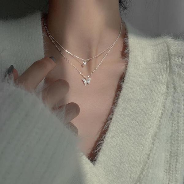 925銀蝴蝶雙層項鏈女簡約設計感小眾氣質冷淡風鎖骨鏈2021新款潮 橙子精品