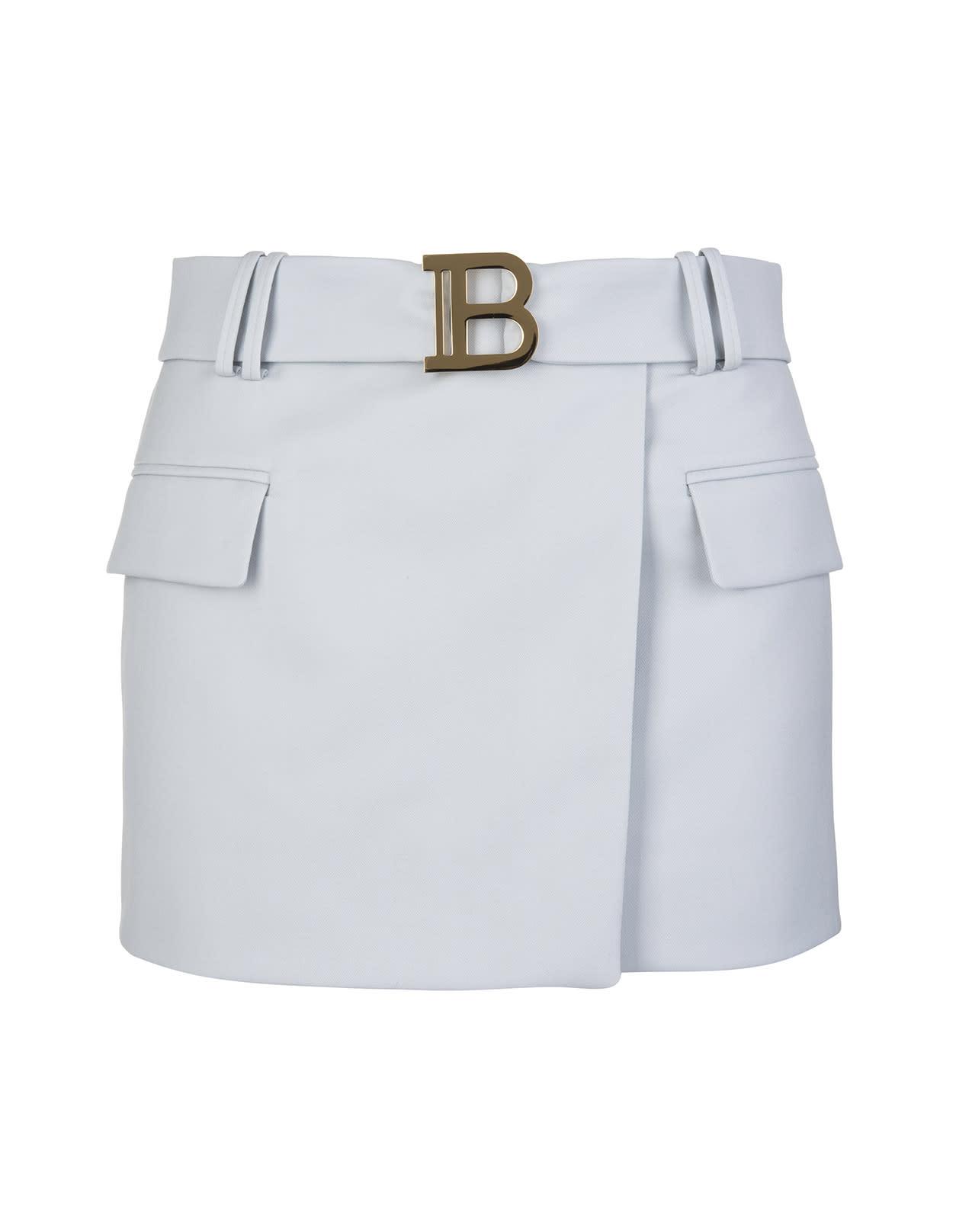 Balmain Low Waist Short Skirt In Light Grey Wool