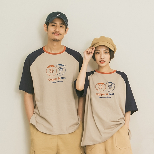 Queen Shop【01038921】中分哥 Copper&Nat微笑撞色棒球袖上衣 1/2*現+預*