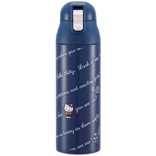 小禮堂 Hello Kitty 彈蓋不鏽鋼保溫瓶 超輕量不鏽鋼水瓶 隨身瓶 500ml (深藍 文字) 4973307-51439