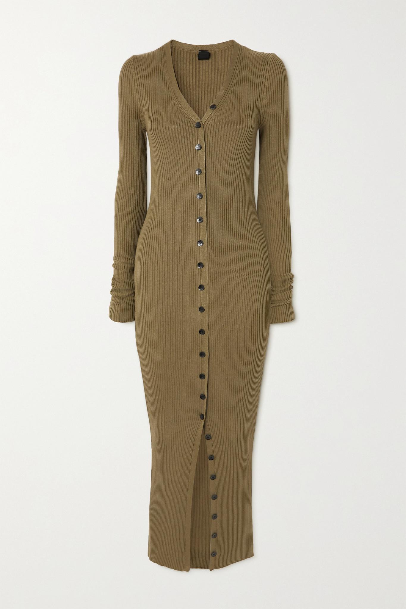 PETAR PETROV - Erica Ribbed Silk Maxi Dress - Green - FR36