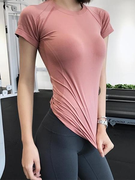 運動上衣 女短袖運動緊身上衣網紅顯瘦性感健身瑜伽服訓練衣【新品狂歡】