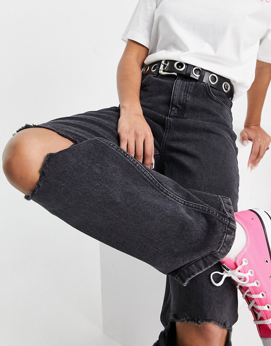 Topshop Baggy jean with rips in wash black