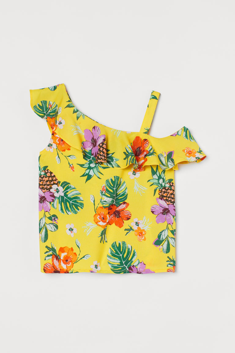 H & M - 斜肩女衫 - 黃色