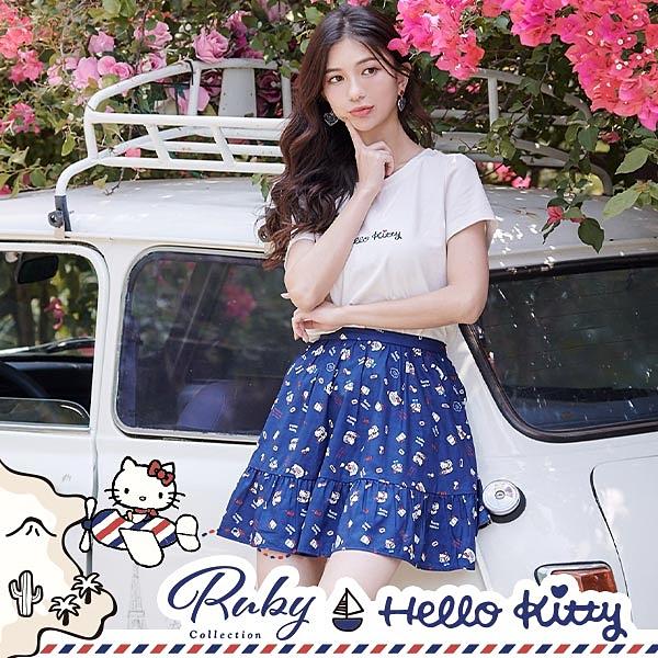 裙子 Hello Kitty x Ruby 聯名款.印花層次短裙-Ruby s 露比午茶