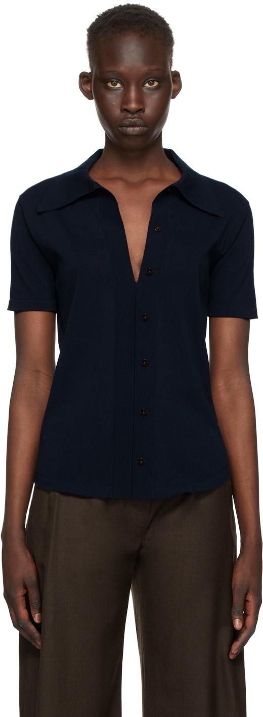 Eftychia 海军蓝 Close Knitted 短袖衬衫