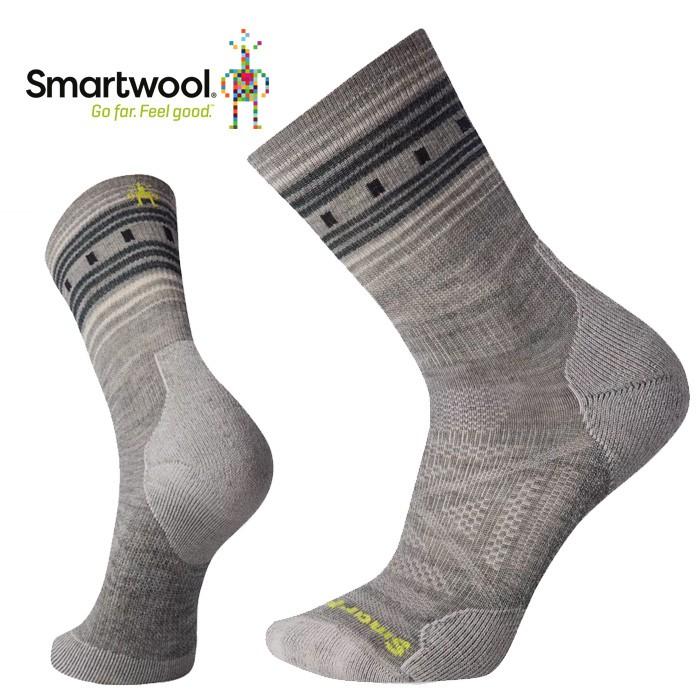 【Smartwool 美國】PhD 戶外輕量避震印花中長襪 羊毛登山襪 運動襪 女款 月光灰 (SW001538E47)