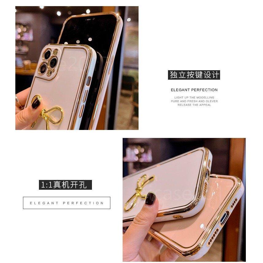 少女蝴蝶結|蘋果 i7 Plus 8 Plus iPhone SE2  電鍍金邊 手機殼 素面 軟殼 保護套 鏡頭保護殼 防摔 防刮