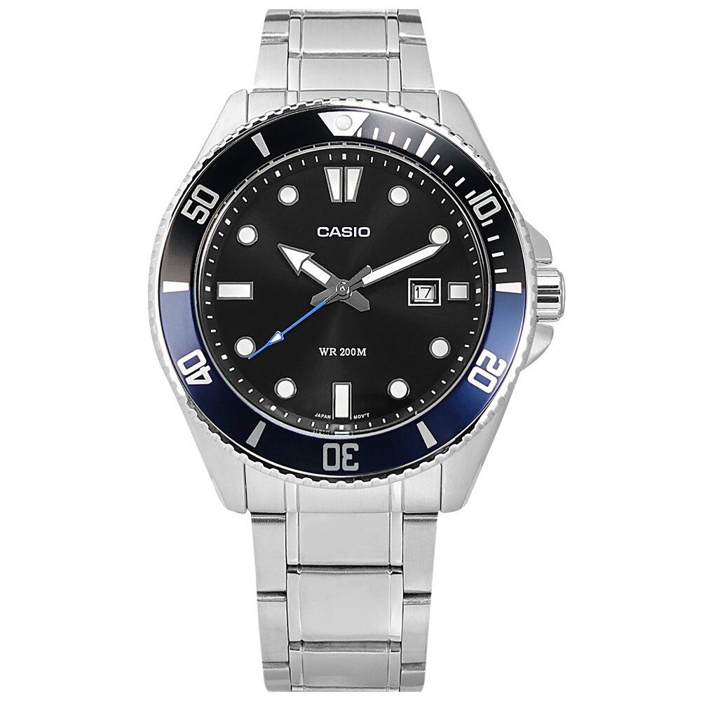 CASIO 雙錶帶可替換/ MDV-107D-1A2 / 卡西歐 潛水錶 槍魚系列 防水 不鏽鋼手錶 黑藍色 44mm